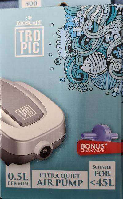 Bioscape Tropic Air Pump 500 Single Outlet inc 1x Check Valves